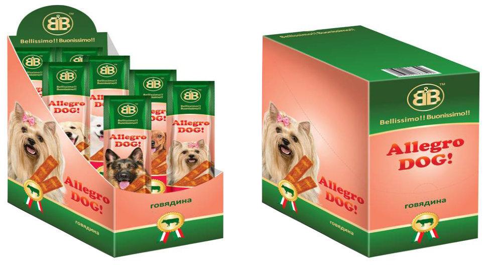 Лакомства для собак B&b Allegro Dog мясные колбаски из Говядины 30шт (Шоу-Бокс), 450 гр