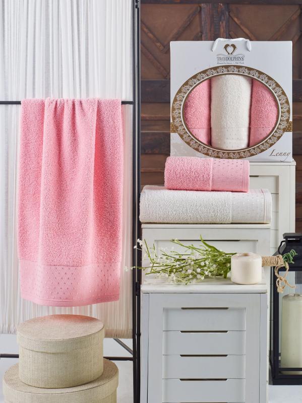 """Набор полотенец """"LENNY"""" махра арт: 9625-розовый из 3 штук"""