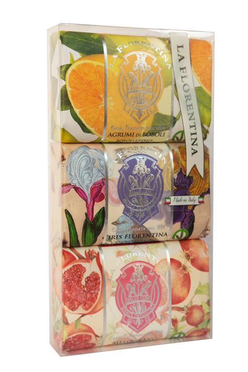 La Florentina Мыло Набор Серия 3*200 г. Цитрус, Флорентийский ирис,Гранат/Citrus, Florentina Iris, Pomegranate.