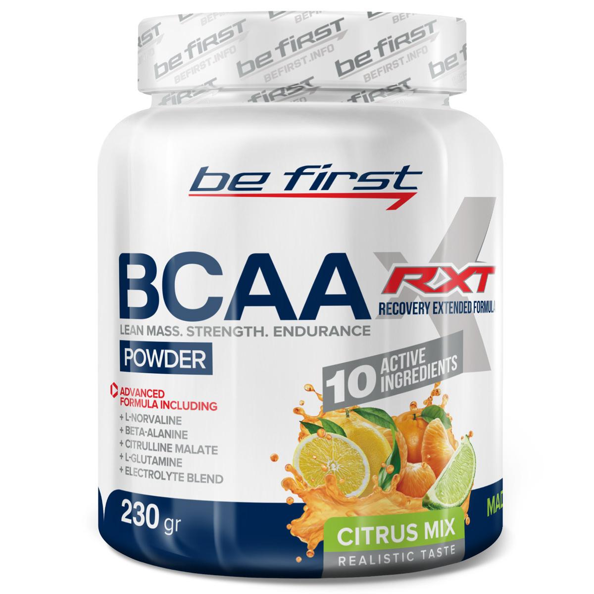Комплекс аминокислот перед тренировкой BCAA, глютамин, бета-аланин, цитруллин, норвалин, электролиты Be First BCAA RXT 230 гр, цитрусовый микс