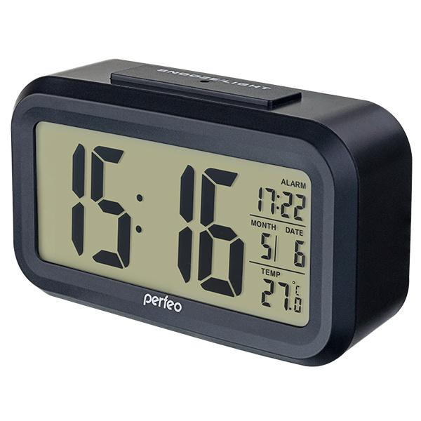 Часы-будильник Perfeo Snuz черный время, температура, дата #1
