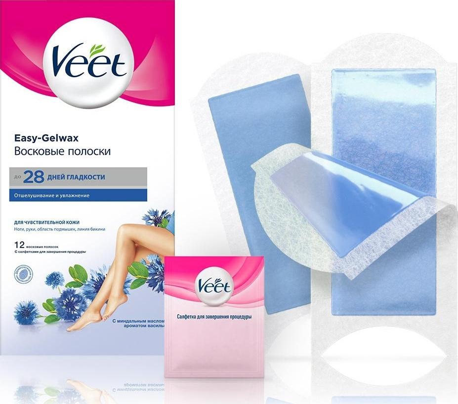 Veet Восковые полоски для чувствительной кожи c технологией Easy Gel-Wax, 12 шт  #1