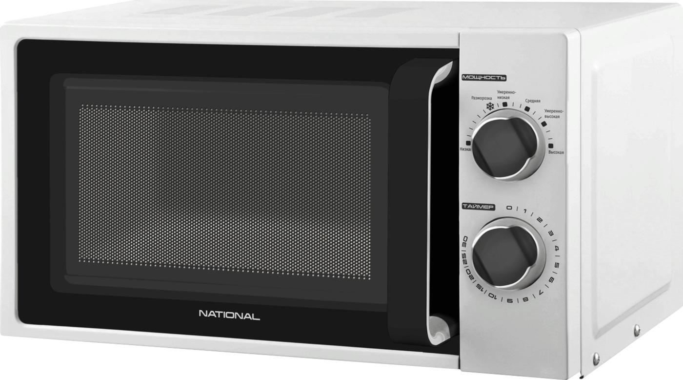 Микроволновая печь NATIONAL 20л, 700Вт, с механическим управлением, 6 уровней мощности, белый