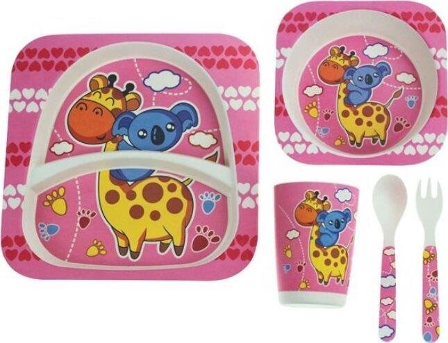 Комплект посуды Baozhiyu Розовый Жираф