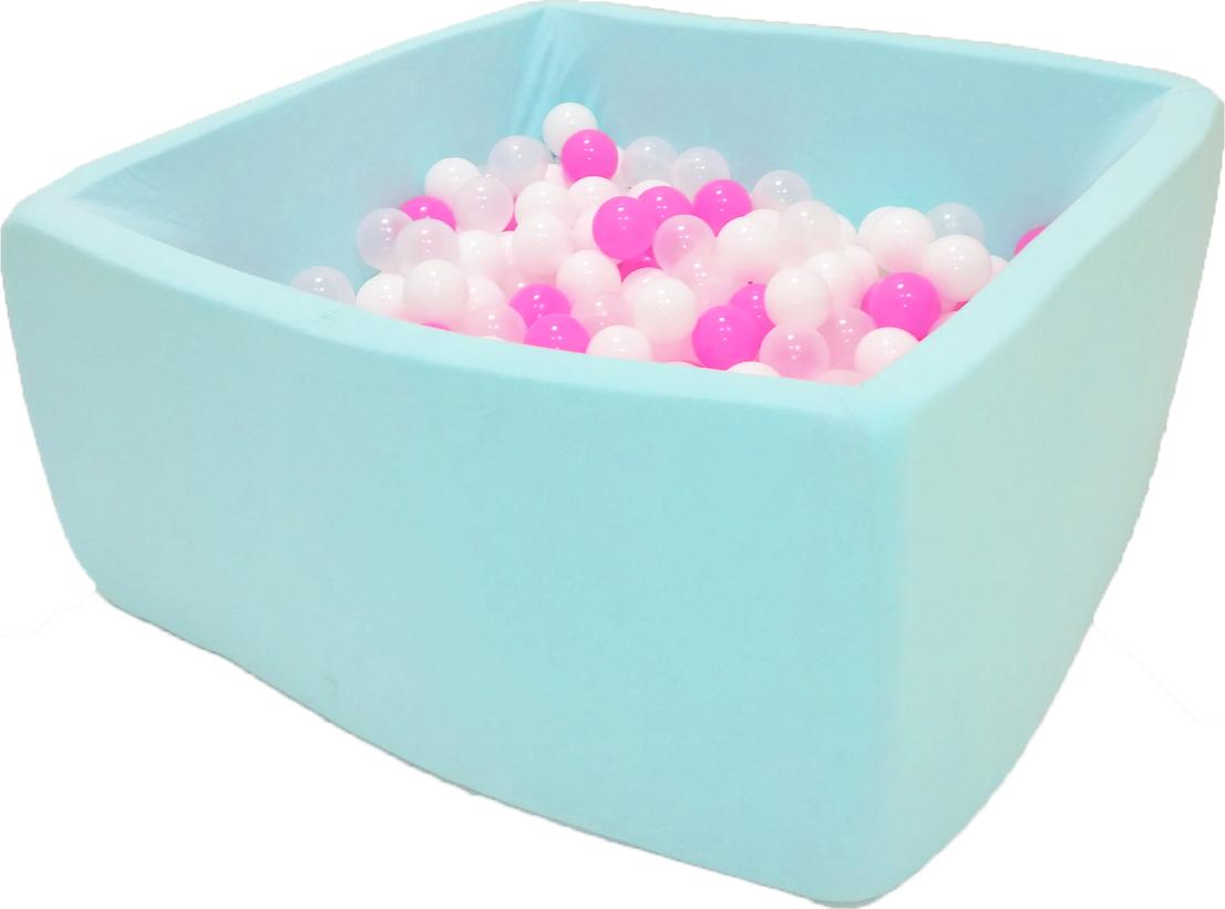 Сухой бассейн Коктейль Квадро мятный выс. h40см с 200 шариками: роз., бел., прозр.