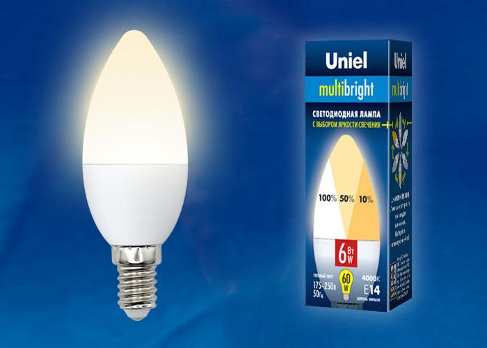 Уцененный товар Лампочка Uniel LED-C37-6W/WW/E14/FR/MB, Теплый свет 6 Вт, Светодиодная