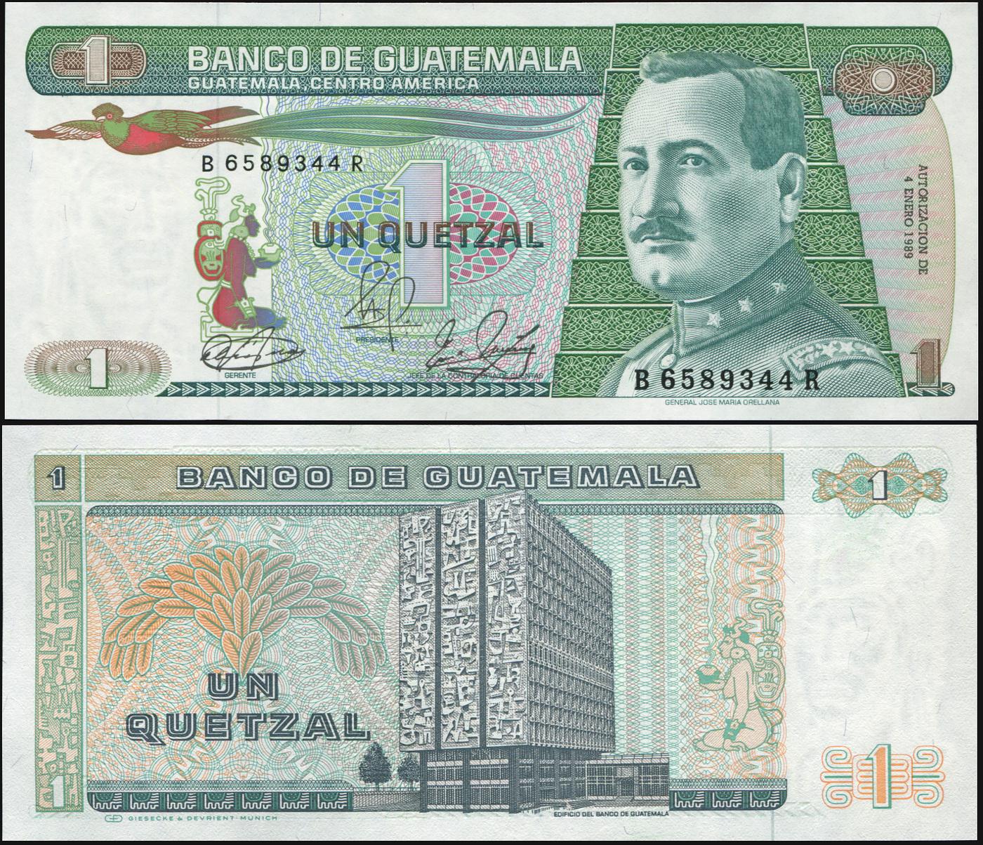 Банкнота. Гватемала 1 кетцаль. 07.01.1989 UNC. Кат.P.66 купюра 5 кетцаль гватемала 2008 год