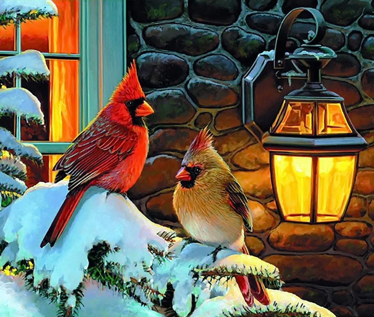 Новогодняя открытка с снегирями, татарские смешные