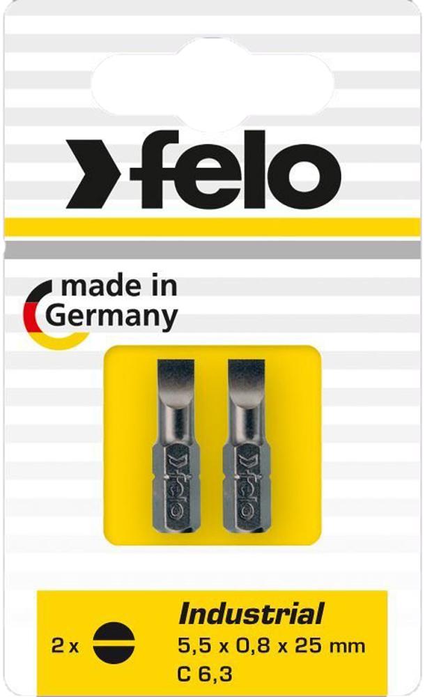 Бита для инструмента Felo, шлицевая плоская 5,5х0,8х25 мм, FEL-02051036, 2 шт