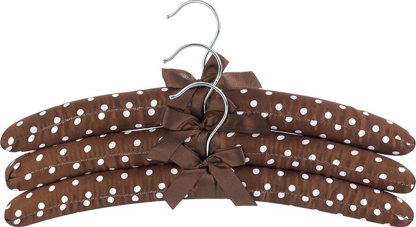 Набор вешалок 3 шт. 38х3,2х13,8 см EL Casa Коричневые в горошек с коричневым бантиком