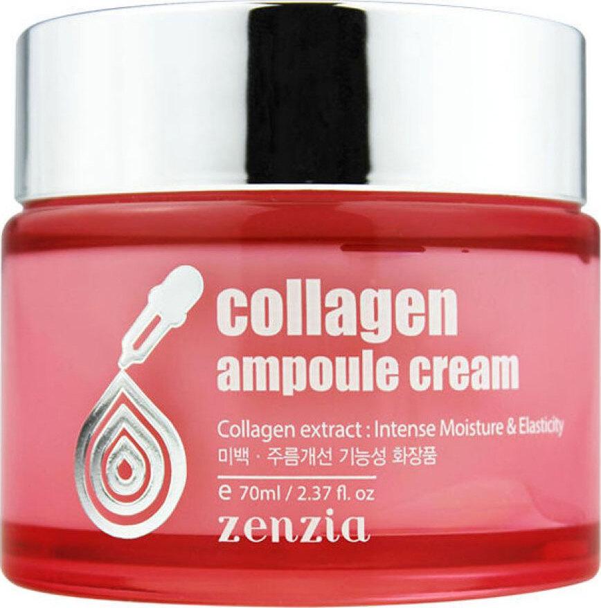 ZenziaКрем для лица с коллагеном Collagen Ampoule Cream, 70 мл Особая, легко усваиваемая форма коллагена проникает в глубокие слои...