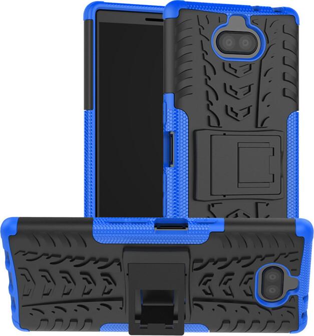 Чехол-бампер MyPads для Sony Xperia 10 Plus противоударный усиленный ударопрочный синий