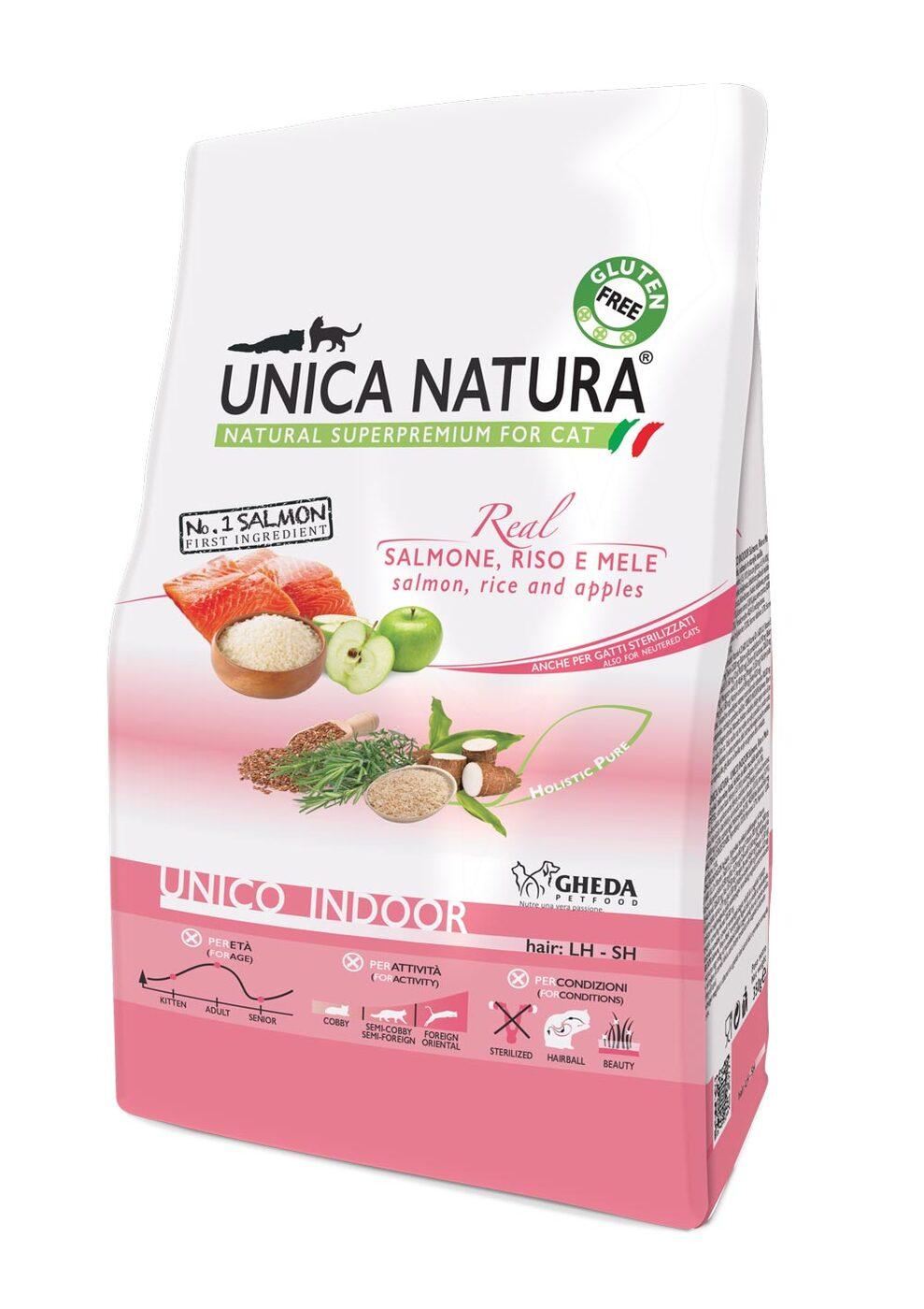 Сухой корм для кошек Unica Natura Unico Indoor - лосось, рис, яблоко (1,5кг