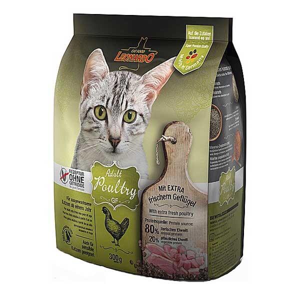 Беззерновой корм для кошек Leonardo Adult Poultry GF, со вкусом птицы, 300 гр