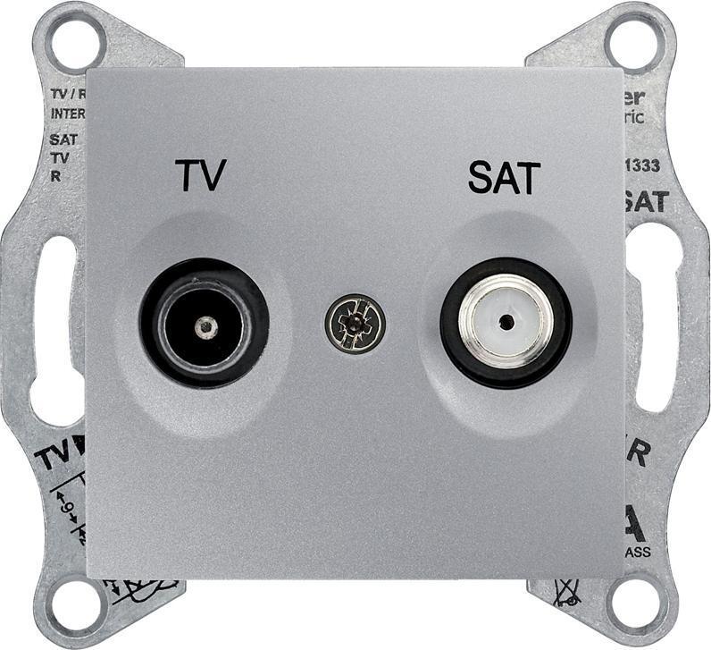 Механизм телевизионной розетки Schneider Electric Sedna TV 5-862мГц + SAT 950-2400мГц оконечный алюминий