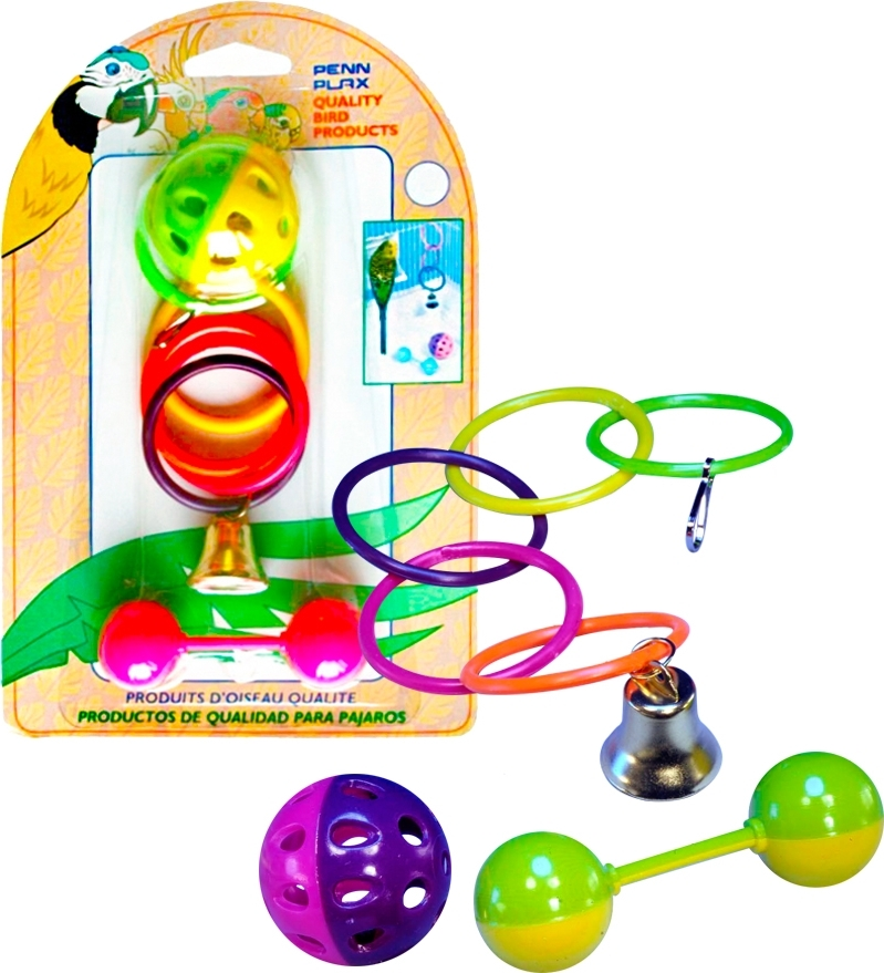 набор игрушек для птиц penn-plax: кольца, мяч, штанга