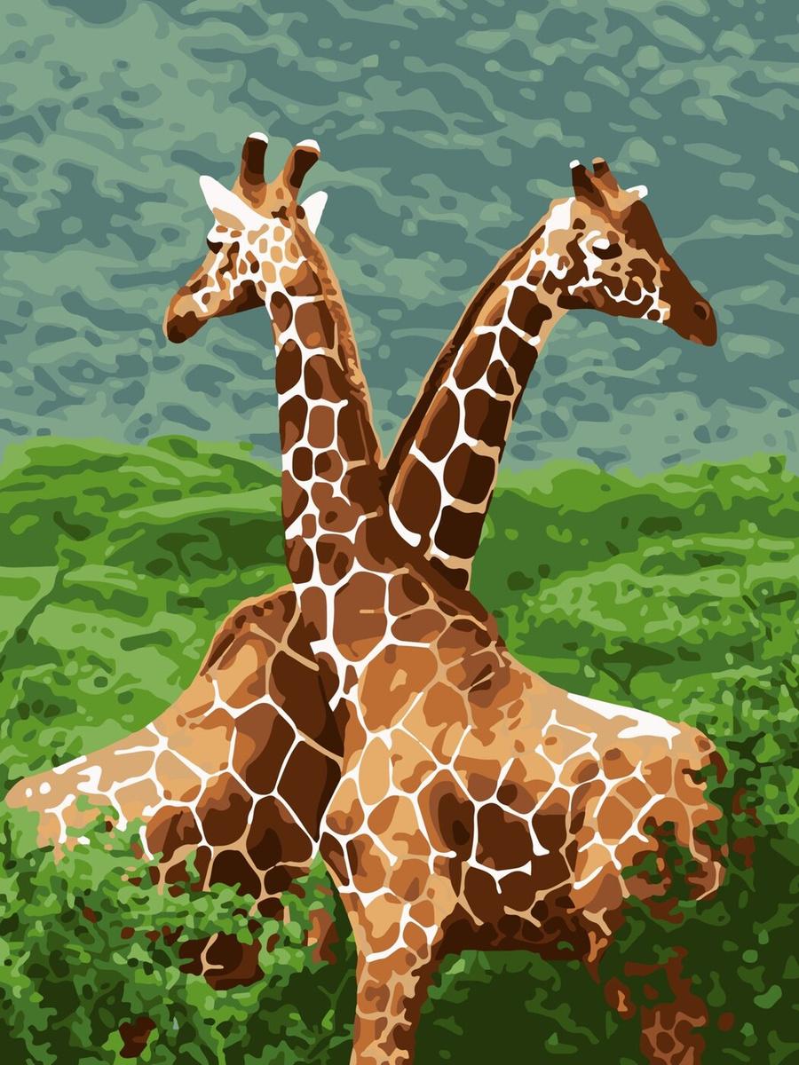 "Ркн/ф-030 Картина по номерам ""Жирафы"" 38х28,5 см — купить ..."
