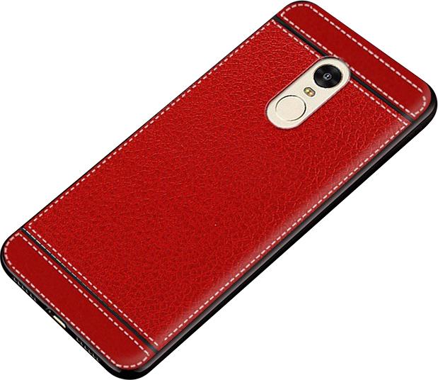 Чехол-накладка MyPads на OPPO A1k / realme C2 2/16GB из качественного износостойкого силикона с декоративным дизайном под кожу с тиснением красный