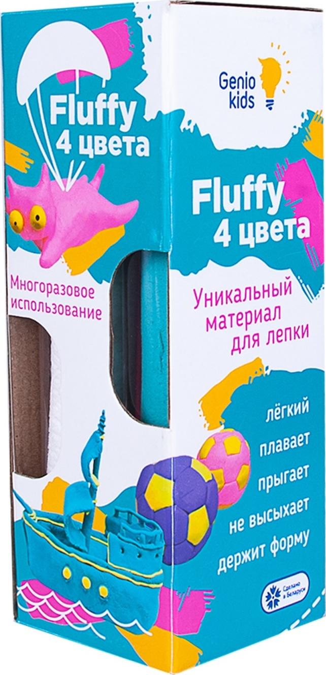 Воздушный пластилин для детской лепки Fluffy 4 цвета