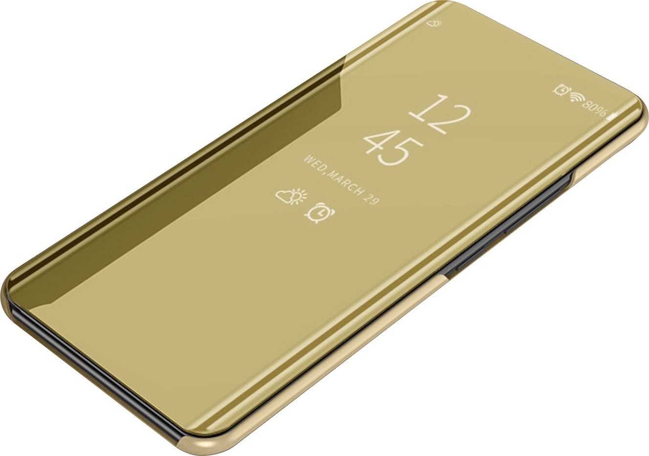 Чехол-книжка MyPads для Huawei Honor 8A/Huawei Y6 (2019)/ Honor 8A Pro/ Y6 Prime 2019 умный активный с функцией включения и блокировки экрана полупрозрачный с зеркальной поверхностью золотой