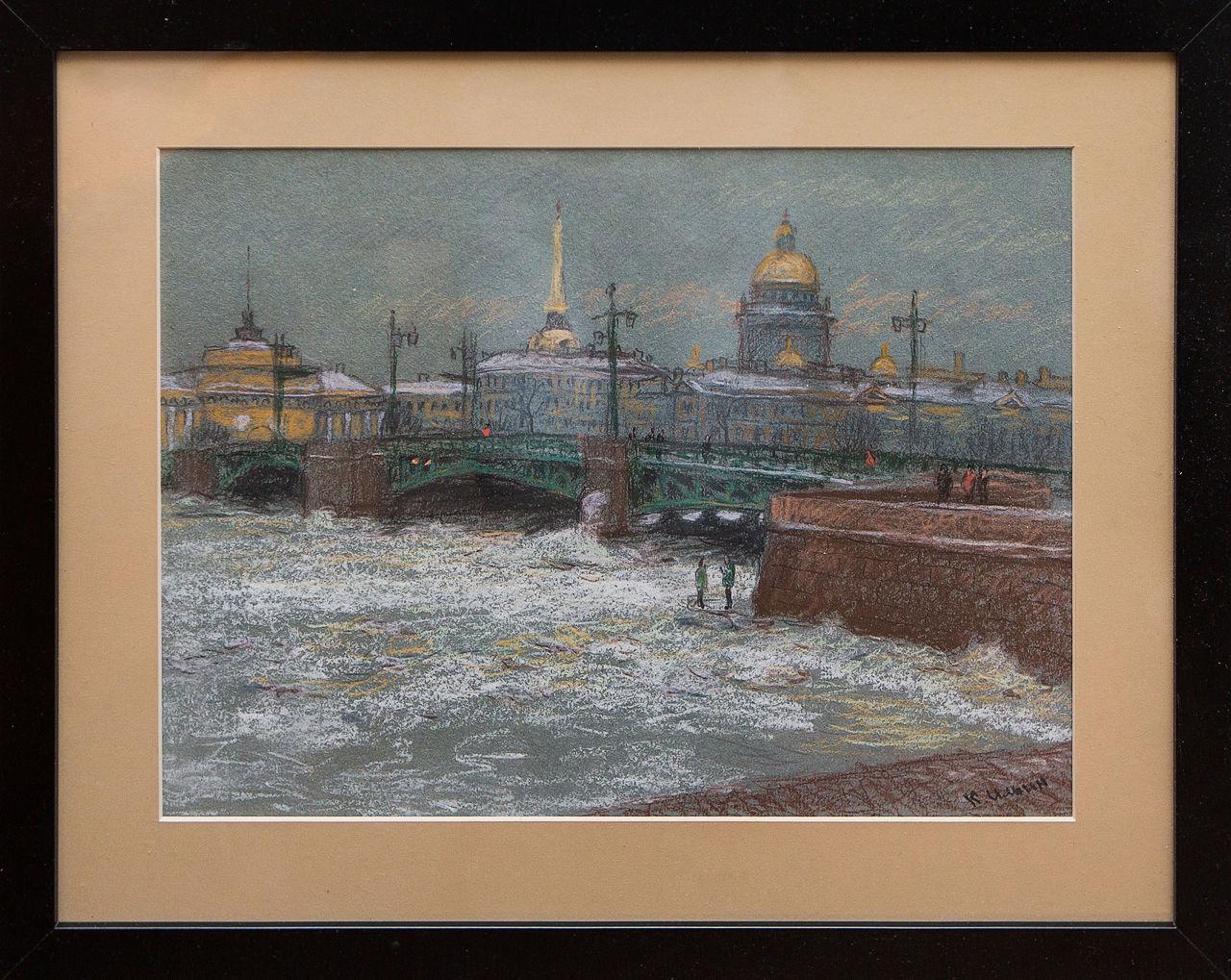 Картина Вид на Дворцовый мост Ильин картина весна на неве ильин