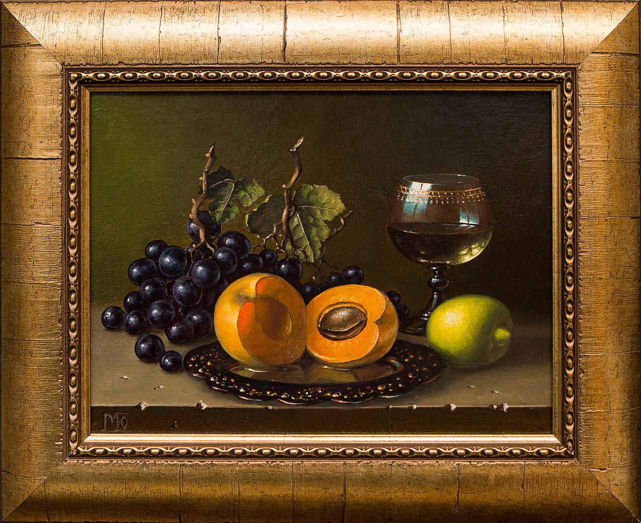 Картина маслом Натюрморт с абрикосом Гордеева