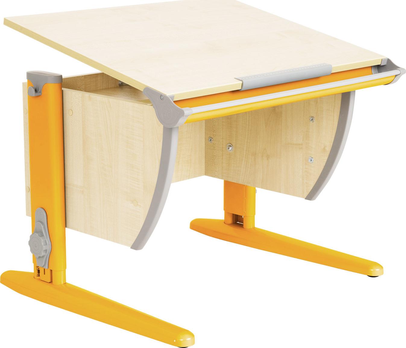 Парта школьная ДЭМИ СУТ-14 75х55 см (цвет столешницы: клен, цвет ножек стола: оранжевый)
