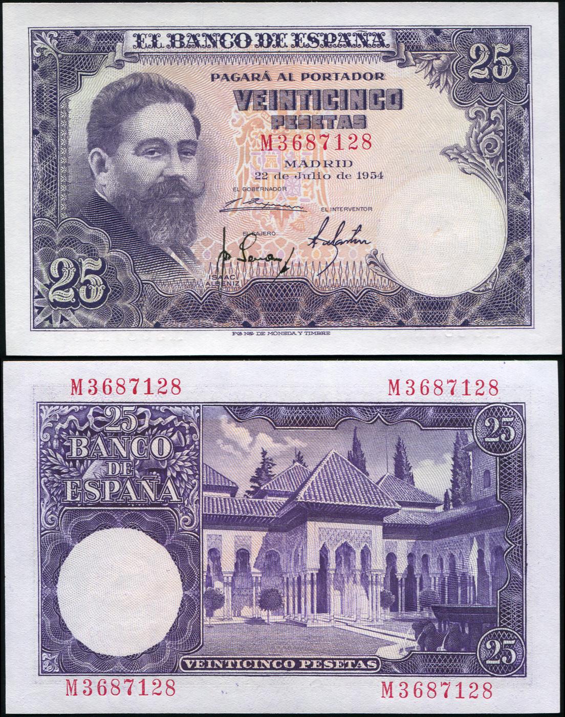 Банкнота. Испания 25 песет. 22.07.1954 UNC. Кат.P.147a