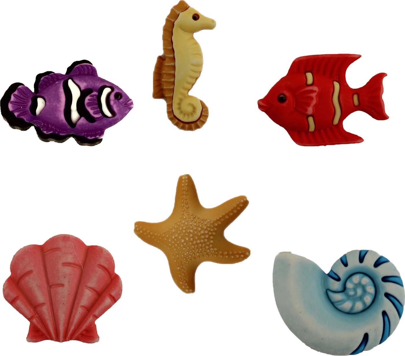 Пуговицы Buttons Galore пластиковые декоративные Ocean Wonders