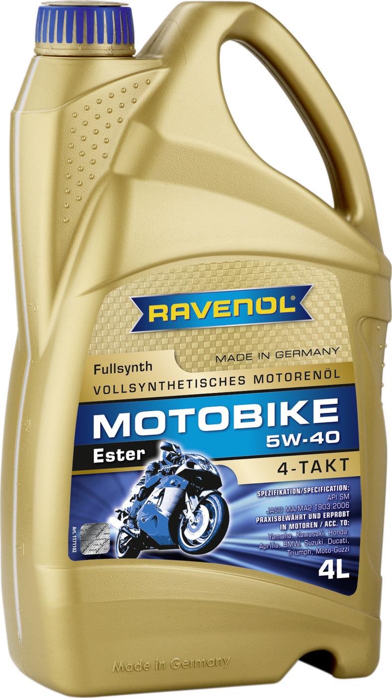 Моторное масло RAVENOL Motobike 4-T Ester SAE 5W-40 (4 л)