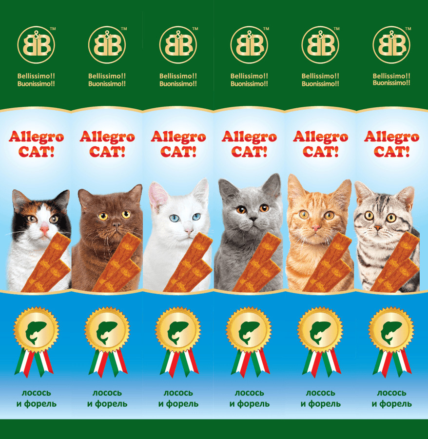 Лакомства для кошек B&b Allegro Cat рыбные колбаски из Лосося и Форели, 6шт, 40 гр