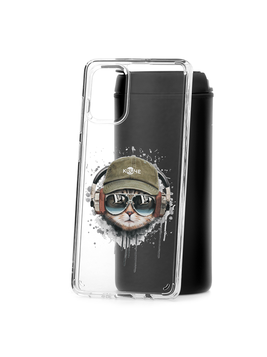 Чехол-накладка Samsung Galaxy A71 Kruche Print Кот в наушниках