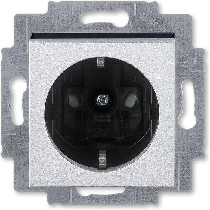 Розетка ABB Levit, с заземлением, со шторками, 2CHH203457A6070, серебристый, черный  #1
