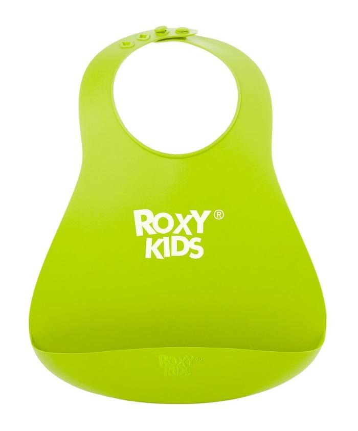 Слюнявчик детский, нагрудник для кормления ROXY-KIDS мягкий с кармашком и застежкой, цвет зеленый  #1