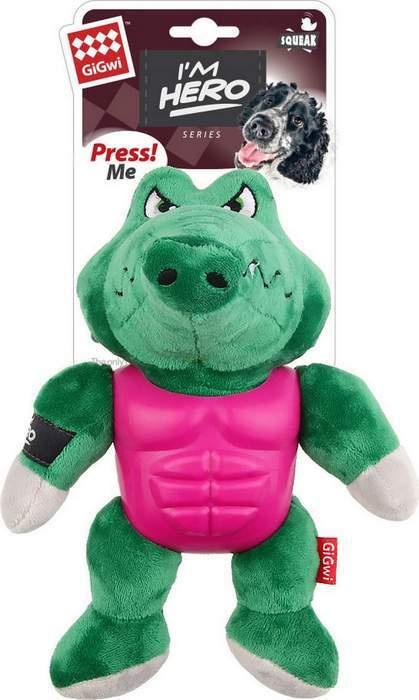 Игрушка для животных GiGwi Крокодил с пищалкой в резиновой броне, 75453  #1