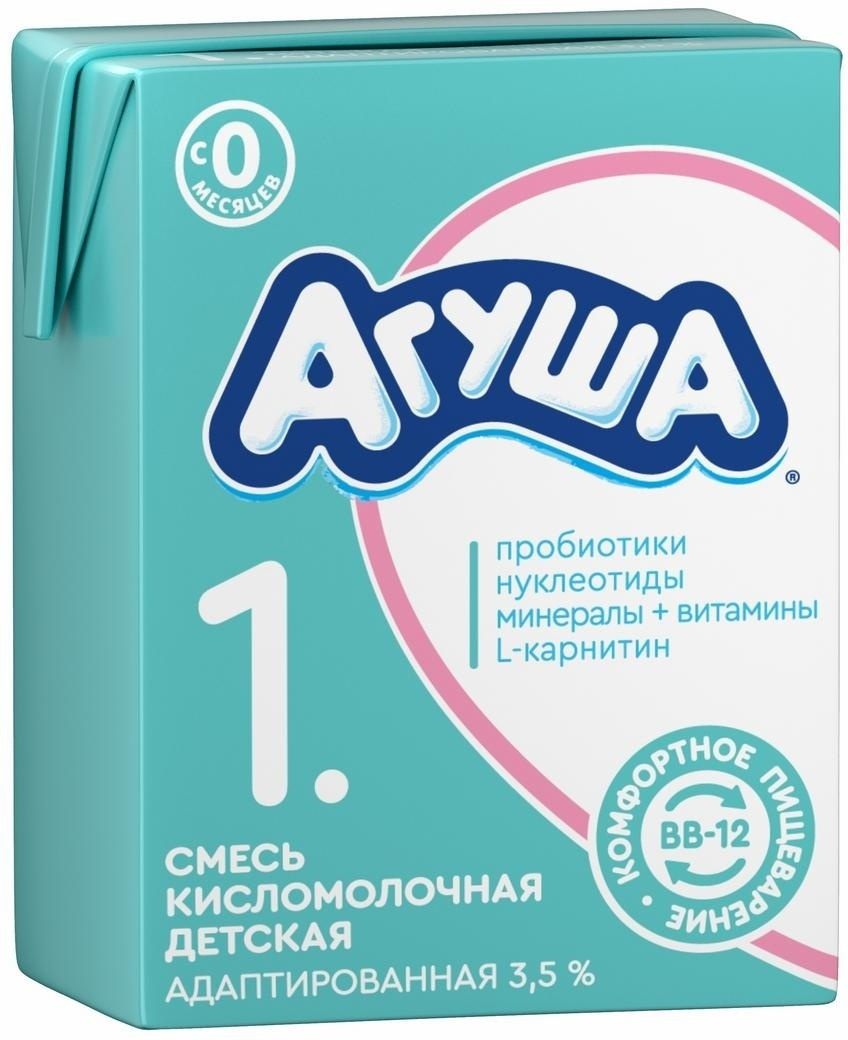 Смесь кисломолочная 3,5% с 0 месяцев Агуша-1, 204 г #1