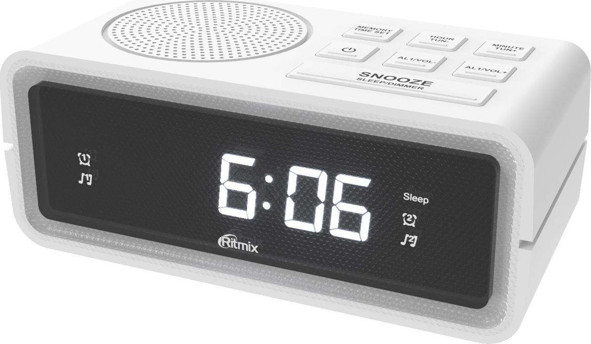 лучшая цена Радио-будильник Ritmix RRC-606, белый