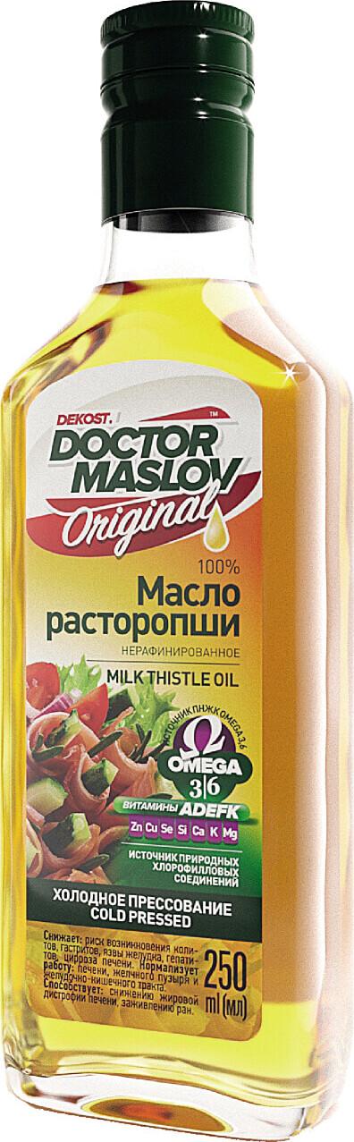 Масло расторопши Doctor Maslov. Original, 100%, нерафинированное, холодного отжима, 250 мл, стекло