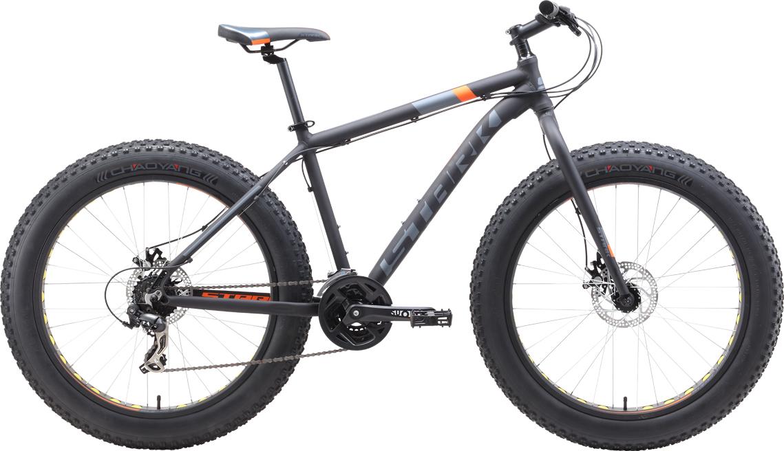 Велосипед STARK Fat 26.2 D 2019 18 чёрный/оранжевый/серый