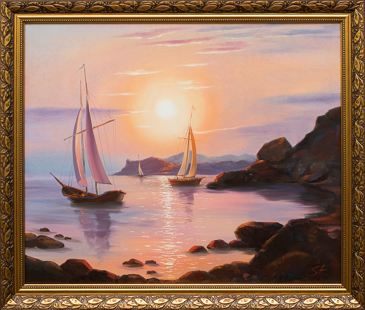 Картина маслом Корабли у берега моря Арушанян