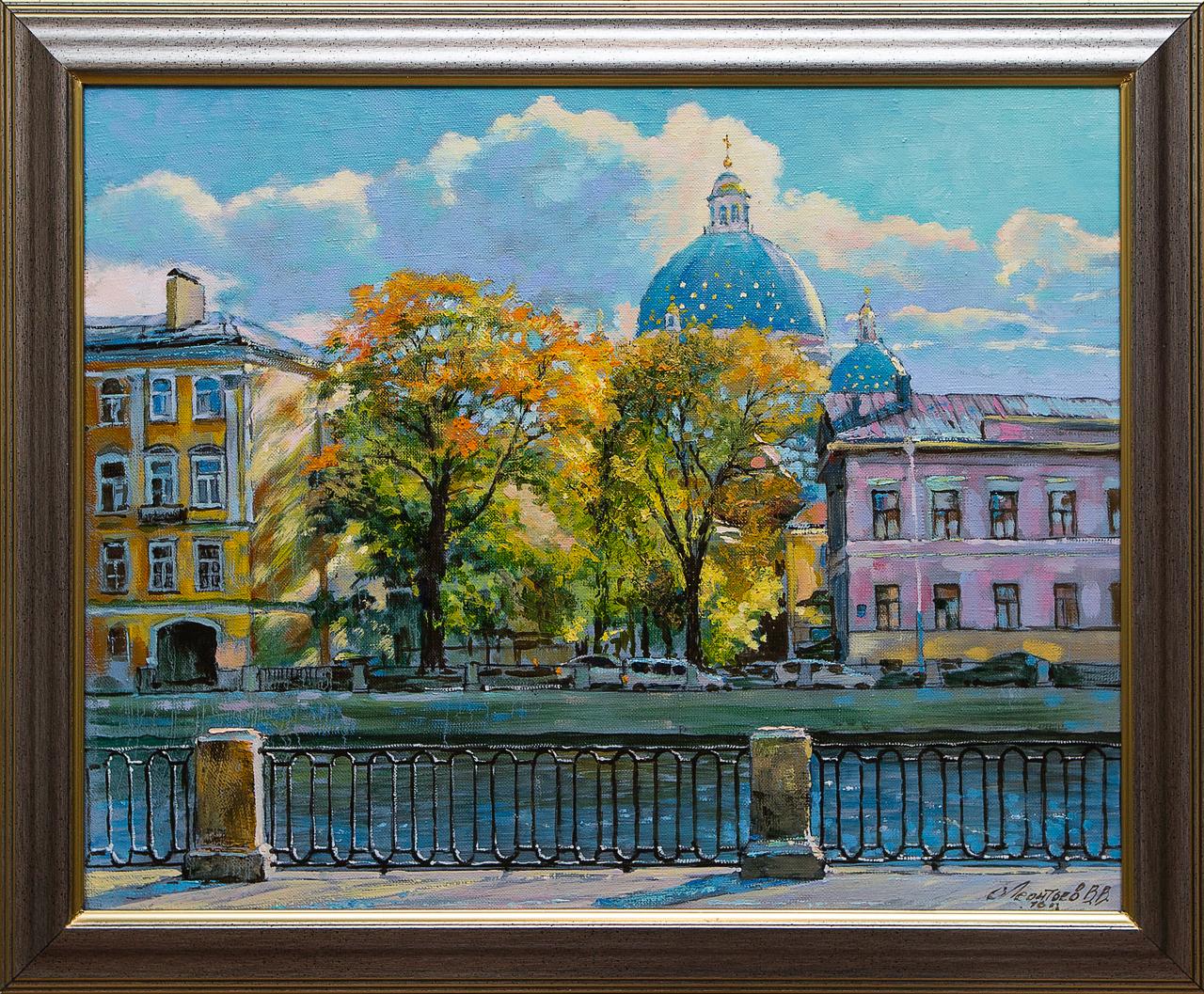 Картина маслом Троицкий собор со стороны Фонтанки Леонтьев картина маслом вид на троицкий собор новицкий
