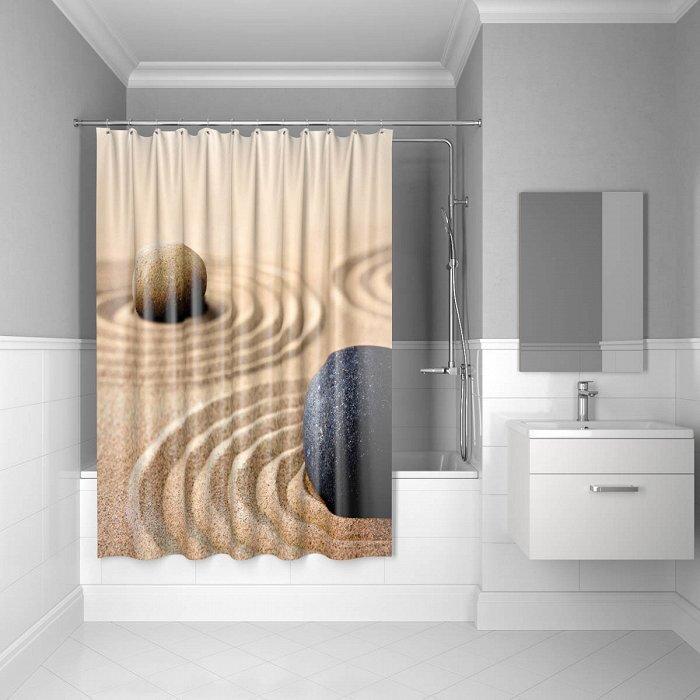 Штора для ванной комнаты, 180*200 см, полиэстер, Sandy, 640P18Ri11, IDDIS штора для ванной комнаты из полиэстера iddis curved lines green 402p20ri11