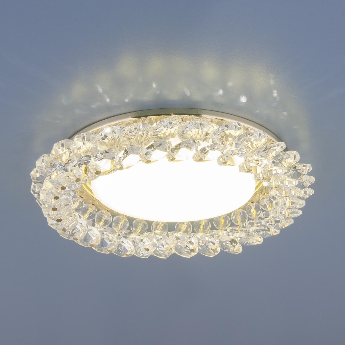Встраиваемый светильник Elektrostandard Точечный с хрусталем 1063 GX53 GD / CL /, GX53 fede fd1005cop квадратный точечный светильникиз латуни золото с белой патиной