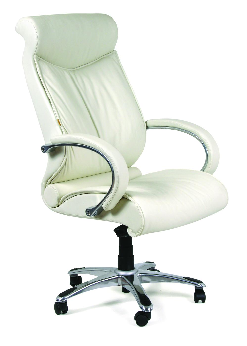 Офисное кресло Chairman    420    Россия     кожа белая