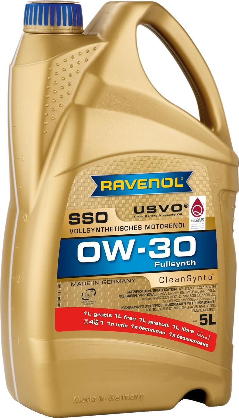 Моторное масло RAVENOL SSO SAE 0W-30 (4+1 л)