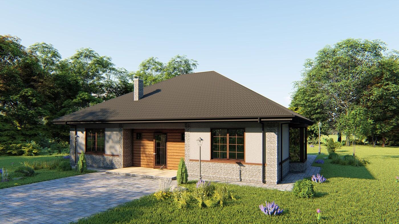 Проект дома Proekt-shop-1-10 (134 кв.м., блоки) Готовый проект одноэтажного жилого...