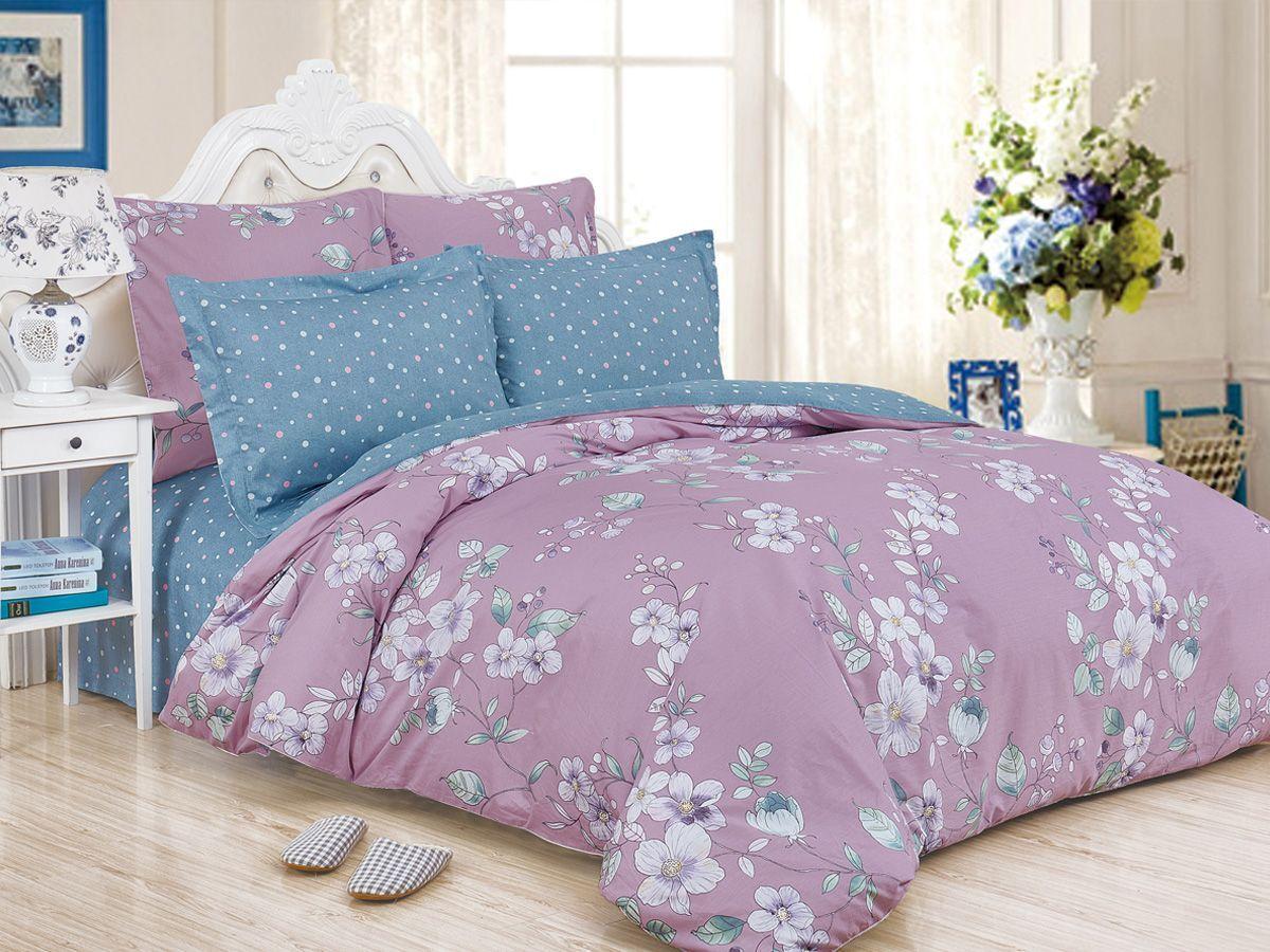 Комплект постельного белья Cleo Satin de' Luxe Элисон, 20/530-SK, сиреневый, голубой, 2-спальный, наволочки 70x70