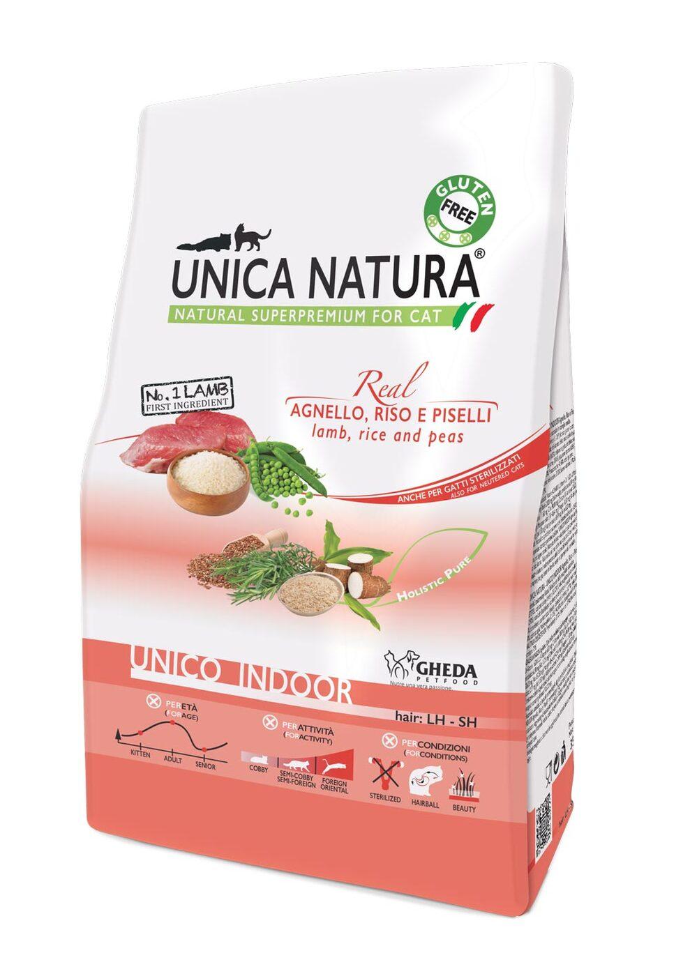 Сухой корм для кошек Unica Natura Unico Indoor - ягненок, рис, горох (1,5кг)