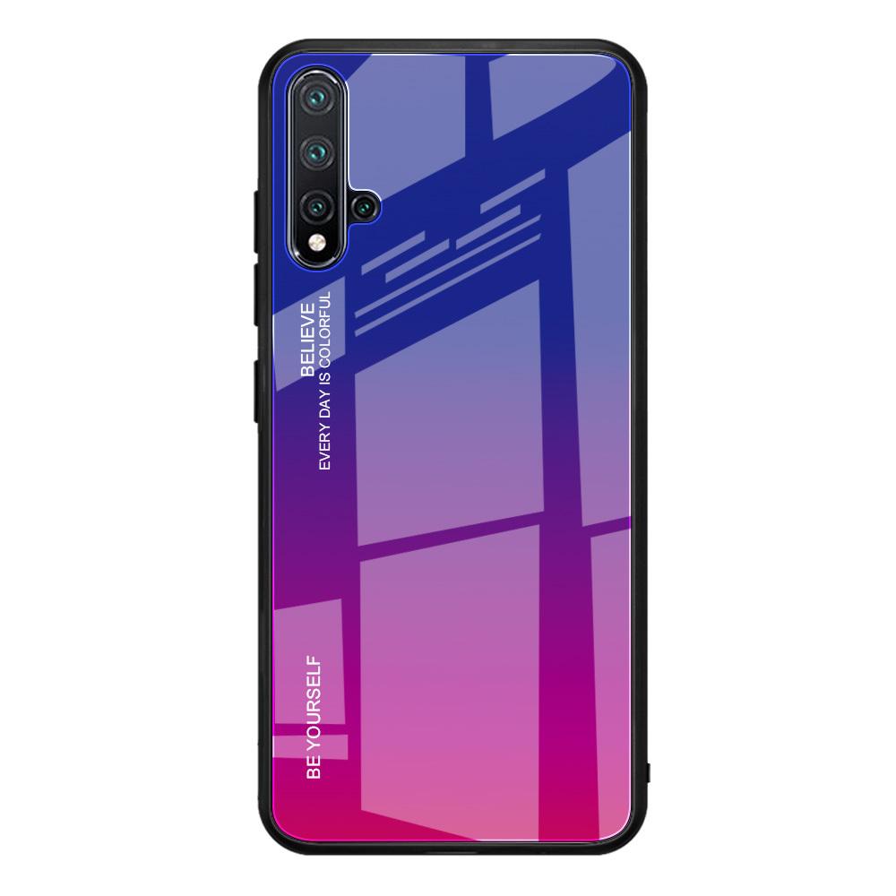 Чехол-бампер MyPads для Huawei Honor 10i / Enjoy 9S / P Smart Plus 2019 стеклянный из закаленного стекла с эффектом градиент зеркальный блестящий переливающийся фиолетовый