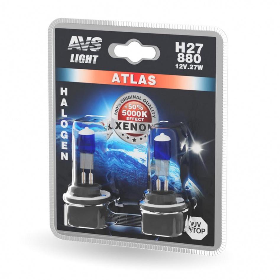 Галогенная лампа AVS ATLAS  /5000К/ H27/880  12V.27W. 2шт.